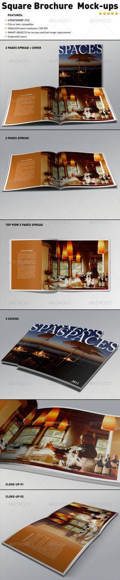 Print Mockup - Realistic Square Brochure Mock-ups Templates - Print Mockup by Cv Template, Print Templates, Brochure Template, Business Brochure, Business Card Logo, Quick Image, Brochure Layout, Business Flyer Templates, Printable Designs