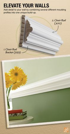 """It's easy to create a more customized look for your walls by simply combining various pieces of moulding into """"build-ups"""". Here's a DIY recipe for a classic-style chair rail build-up project. Home Renovation, Home Remodeling, Wood Paneling Makeover, Moldings And Trim, Moulding, Crown Moldings, Wood Panel Walls, Paneling Walls, Panelling"""