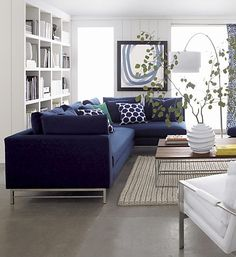 Navy Blue Sectional Sofa Foter Home Sweet Home Navy - Living room decorating ideas with sectional New Living Room, Home And Living, Living Room Decor, Living Room Ideas Navy Blue Sofa, Modern Living, Navy Blue And Grey Living Room, Living Area, Cozy Living, Simple Living