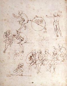 Various figure studies by Leonardo da Vinci #art
