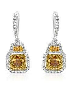 Brand New Earrings With Genuine Natural Fancy Vivid Yellow, Natural Fancy Vivid Yellow, Natural Fancy Yellow Super Clean Diamonds Crafted in Two tone Gold Length - Certificate Available. Super Clean, Accessories Shop, Decorative Bells, Certificate, Diamonds, Fancy, Watches, Yellow, Natural