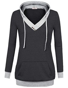 Timeson Womens VNeck Long Sleeve Pullover Hoodies with Kangaroo Pocket XXXLarge Carbon Black -- To view further for this item, visit the image link.