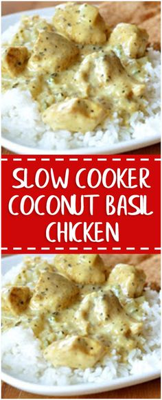 Slow Cooker Coconut Basil Chicken #slowcooker #chicken #whole30 #foodlover #homecooking