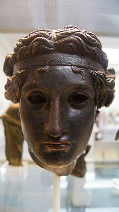 Bronze head of Dionysos. Roman, circa 50 BCE-50 CE From the British Museum
