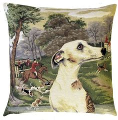 Whippet In Forest Belgian Tapestry Cushion