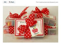 @Ashley Joyner first day of school box with candies and small school supplies and other goodies
