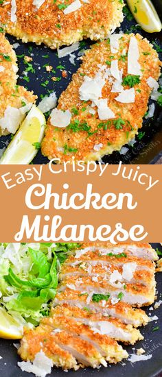 Chicken Milanese is a very simple chicken recipe that consists of a flavorful breaded and pan-fried chicken breast. If you want an easy chicken dinner that is juicy on the inside, crispy on the outside, and beautifully flavored, this is the perfect recipe for you! You can serve it simply with a side dish, on top of a salad, with a creamy sauce, or make it into Chicken Parmesan. Healthy Chicken Casserole, Easy Chicken Dinner Recipes, Pan Cooked Chicken, How To Cook Chicken, Chicken Milanese, Chicken Fricassee, Side Dishes Easy, Main Dishes, Fried Chicken Breast
