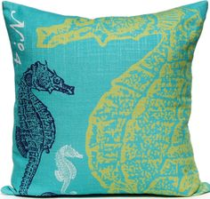 Seahorse - Ocean Pillow: Beach Decor, Coastal Home Decor, Nautical Decor, Tropical Island Decor & Beach Cottage Furnishings