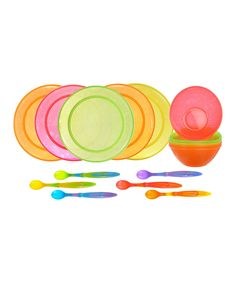 Simple plates bowls and spoons are a must have eventually.Munchkin Infant and Toddler Feeding Set 16 Piece  sc 1 st  Pinterest & IKEA kids plates bowls cups u0026 flatware. Love the bright colors ...