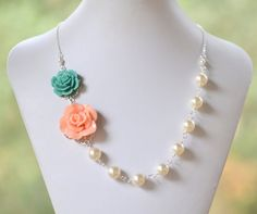 Bridesmaid Jewelry Peach and Turquoise Rose Ivory