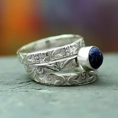 Floral Jewelry Sterling Silver Stacking Lapis Lazuli Ring - Love Foretold | NOVICA
