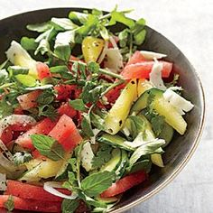 "I call this a ""Happy Salad"", it looks and tastes fantastic!  I use regular cucumbers instead of the English. A major summer hit at gatherings! Watermelon-Cucumber Salad 