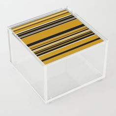 Complex Stripes - Dark Yellow Acrylic Box by laec Good Advice For Life, Storage Places, Acrylic Box, Stripes, Dark, Yellow, Store, Outdoor Decor, Stuff To Buy