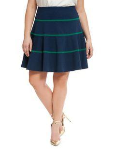 4be344698e0 Ponte Stripe Flare Skirt from eloquii.com Plus Size Professional