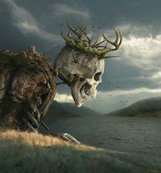 """Ancient King"" Art by Ayrat Adynaid on Tag a friend! Dark Fantasy Art, Fantasy Artwork, Fantasy Concept Art, Fantasy World, Dark Art, Arte Horror, Horror Art, Art Sinistre, Arte Obscura"