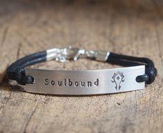 Horde symbol bracelet, For the horde, Personalized stamped ID Bracelet, stamped name Bracelet, soul bound bracelet, Warcraft horde bracelet