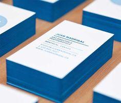 letterpress edge painted business cards blue