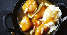 With a sweet and salty caramel sauce, these golden dumplings are perfect for a cosy night in.