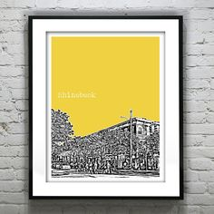Rhinebeck New York Poster Print Skyline Art NY by AnInspiredImage