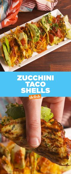 This low-carb hack is what your next taco night needs  Get the recipe at Delish.com. #tacotuesday #taco #zucchini #shell #cheese #breakfast #dinner #easy #hacks #recipe #easyrecipe #avocado #lowcarb #lowcarbdiet #lowcarbrecipes #cheddar #eggs