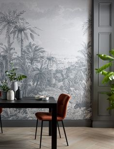 Paradise Found Monochrome Wall Mural gives your home a touch of paradise with leafy palms and lush foliage in contemporary monotone hues on a matt canvas. Coastal Wallpaper, Post Holiday Blues, Botanical Interior, Paradise Found, Painted Paper, Soft Furnishings, Modern Classic, Wall Murals, Monochrome