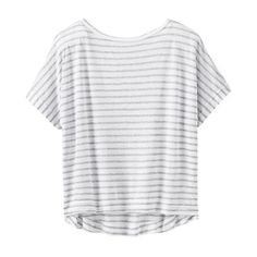 Athleta Women Stripe Crop Tee Size XL ($31) ❤ liked on Polyvore featuring tops, t-shirts, shirts, tees, white tee, white crop top, crop t shirt, crop top and white t shirt