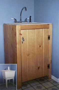 Less pricey sink disguised Build a cabinet box around utility sink ...