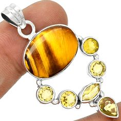 Tger Eye 925 Sterling Silver Pendant Jewelry PP24279   eBay