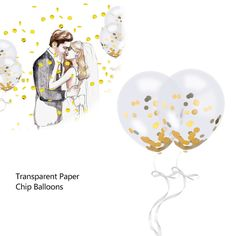12 Pieces Gold Confetti Filled Clear Balloons 30cm/12 Inches for Wedding Propose