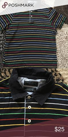 Navy color stripe polo size large Like new size large pet free and smoke free home claudio campione Shirts Polos