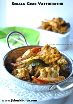 ! Jisha's Kitchen !: Kerala style crab masala - Indian Recipes, Kerala Nadan Recipes, Kuttanadan Recipes Indian Fish Recipes, Recipes In Tamil, Crab Recipes, Kerala Recipes, Chilli Crab Recipe, Kerala Food, Curry Dishes, Fish Curry, Pisces