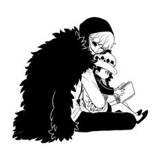 Hugs and reading - Trafalgar D. Water Law and Donquixote Rocinante  (Corazon, (Corasan, Cora-san) One piece art