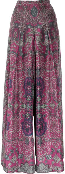 Saint Laurent Printed Silkhabotai Palazzo Pants in Purple - Lyst