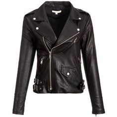 Womens Black Faux PU Leather Moto Biker Jacket at Amazon Women's Coats... ($65) ❤ liked on Polyvore featuring outerwear, jackets, faux motorcycle jacket, moto jacket, motorcycle jackets, faux-leather jacket and biker jacket