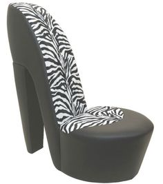 White stiletto / shoe / high heel chair tiger / animal print ...