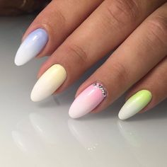 Here you can see the tremendous bright nails. They suit ideal for summer time parties. The gradient technique looks stylish ...