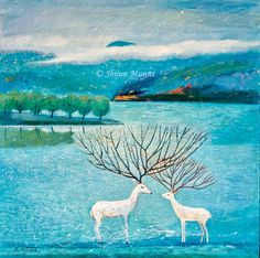 """Deer river oil on canvas 2017 (C) Shijun Munns River Painting, Painting Art, Wood Paneling, Land Scape, Oil On Canvas, Deer, Moose Art, Original Paintings, Blessing"