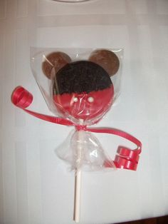 Thanks Pinterest for this cute & easy idea. Double filled oreas, red chocolate waffers, candy pearls, chocolate waffers for ears, red ribbon, and clear pop bag.
