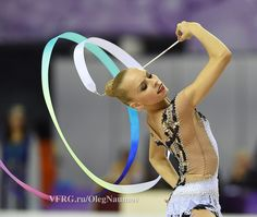 Yana Kudryavtseva, Russia, got 18.183 in ribbon finals World Championship 2014. She is the 2nd in ribbon finals.
