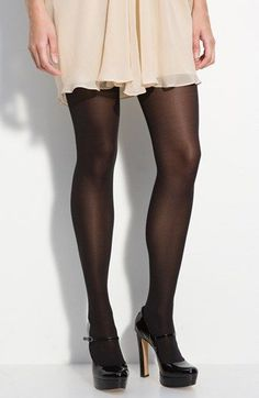 Velvety-soft opaque tights offer a chic, matte look with a smooth finish. Pantyhose Outfits, Black Pantyhose, Black Tights, Fishnet Leggings, Opaque Tights, Tight Leggings, Fashion Tights, Tights Outfit, Hot High Heels
