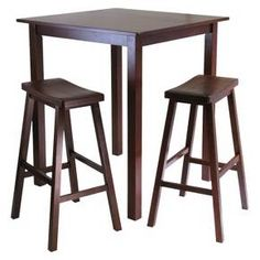 Winsome 3 Piece Parkland High Table Set with 2 Stools - Antique Walnut