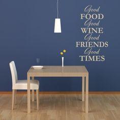 "WallStar Graphics ""Good Food, Good Wine"" Wall Decal"