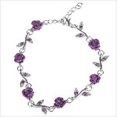 Exquisite Rose Design Bracelet Brace Lace for Women Ladies Girls - Purple