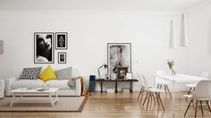 In a space like this, living room and dining room must be separate but still work together.