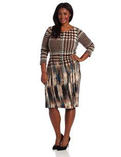 Anne Klein Women's Plus-Size Pleated Long Sleeve Jersey Sheath Dress #workdresses