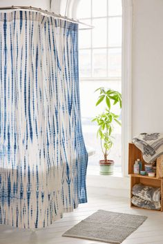 Shop Magical Thinking Dye Streak Shower Curtain at Urban Outfitters today. Kids Room Curtains, Diy Curtains, Tie Dye Curtains, Delft, Decoracion Low Cost, Estilo Hippie, Decorating Small Spaces, Bathroom Shower Curtains, Bath Decor