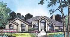 This lovely Mediterranean style home with contemporary influences (House Plan has 2597 square feet of living space. The 1 story floor plan includes 4 bedrooms. Mediterranean House Plans, Mediterranean Design, Contemporary Style Homes, Contemporary House Plans, Contemporary Design, Dream House Plans, House Floor Plans, Portico Entry, See Through Fireplace