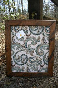"22x26"" Beautiful stained Frame with decorative Cork Board"