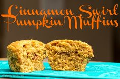 Cinnamon Swirl Pumpkin Muffins via Ari's Menu Churro Bites, Banana Chocolate Chip Muffins, Skinny Recipes, Healthy Recipes, Pancakes Easy, Pumpkin Pie Spice, Sweet And Spicy, Churros, Cinnamon