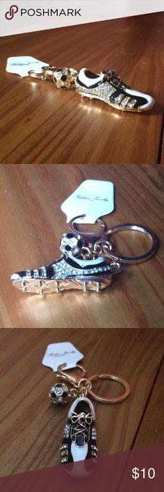 "1 Left Crystal Soccer Shoe Keychain / Fob / Charm High quality & detailed. Keychain is gold tone with black and white painted enamel and  covered in clear crystals. Bottom of shoe has cleats (not sharp). A small crystal soccer ball is also attached. Approximately 4"" L from top of key ring to tip of shoe. Please ask if you have questions. Bling. Accessories Key & Card Holders"
